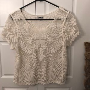 Express XS lace transparent t-shirt